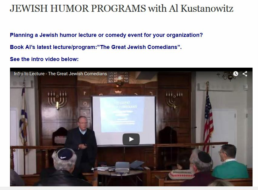 """Book Al's Latest Lecture - """"The Great Jewish Comedians"""" Now"""